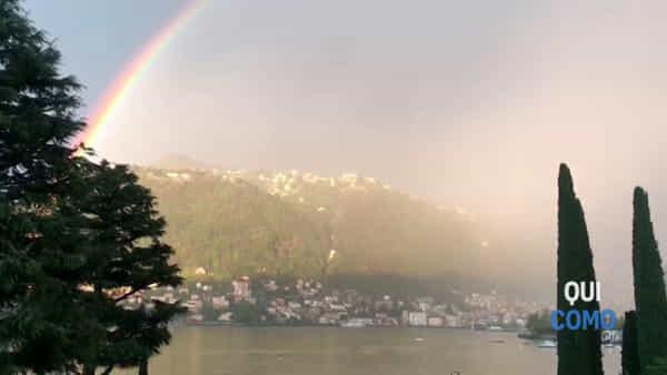 Il video del meraviglioso super arcobaleno sopra Como
