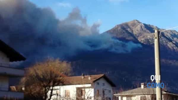 Incendio a Sorico (foto Sondrio Today)