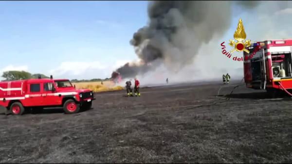 Incendio a Campo dei Fiori a Saronno